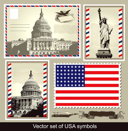 set of USA symbols Vector