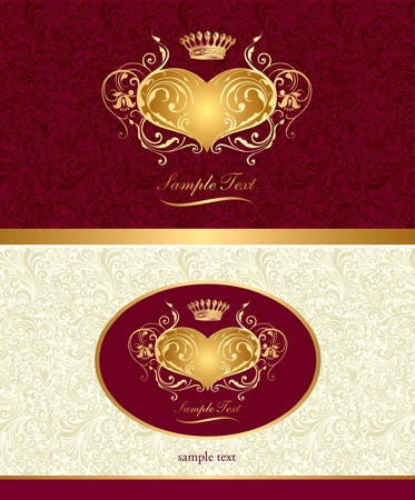 aristocratically: Holiday background with gold heart