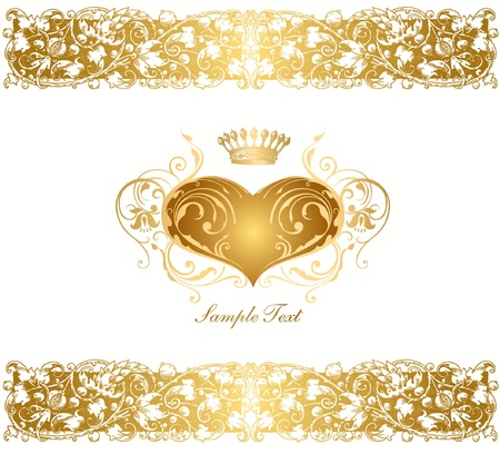 Holiday background with gold heart Vector
