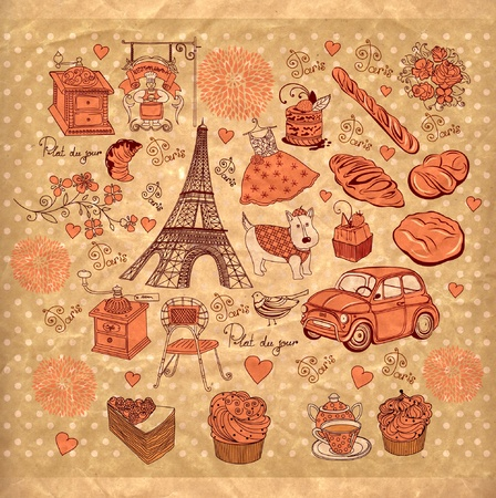 background with landmarks of Paris Stock Vector - 9821034
