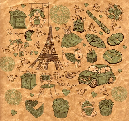 background with landmarks of Paris Stock Vector - 9821652