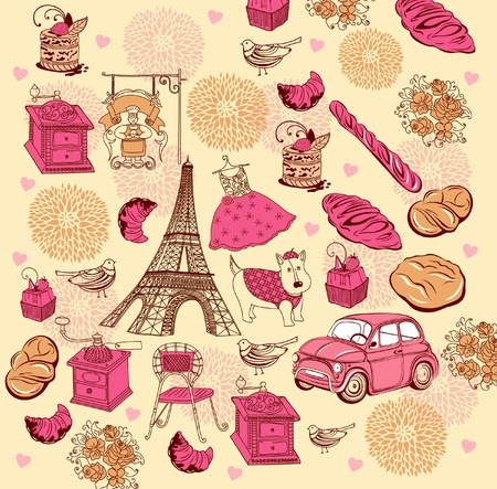background with landmarks of Paris Illustration