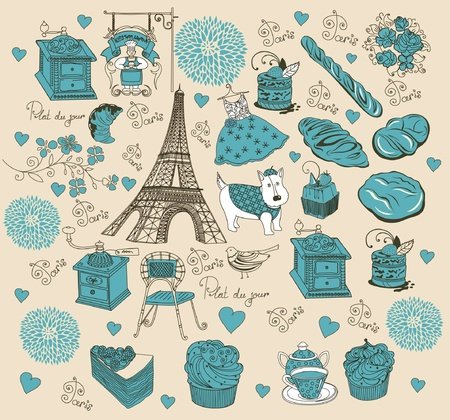 background with landmarks of Paris Vector