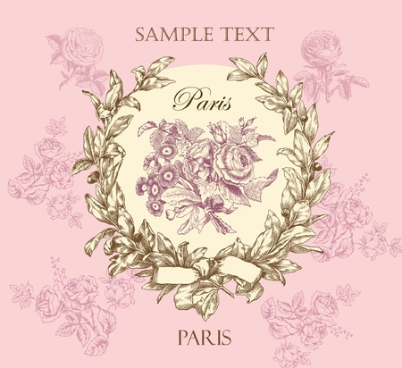vintage objects: Pastel gentle rose label with wreath Illustration