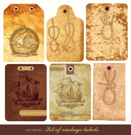 ship package: Set of vintage textured labels
