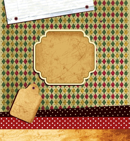 scrap paper: Vintage template with textured background  Illustration