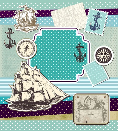Set of vintage elements on theme travels  Vector