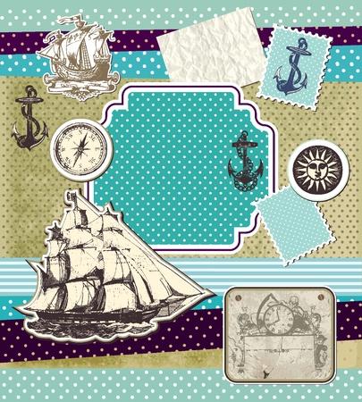 compas de dibujo: Conjunto de elementos vintage en tema viajes  Vectores