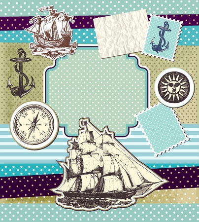 Set of vintage elements on theme travels Stock Vector - 10159545