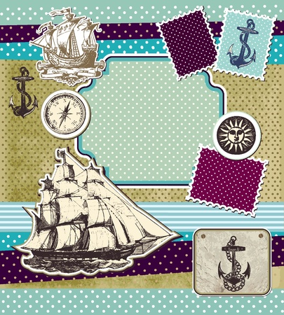 navigating: Set of vintage elements on theme travels