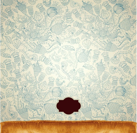 wrapping animal: Classical wall-paper with a flower pattern
