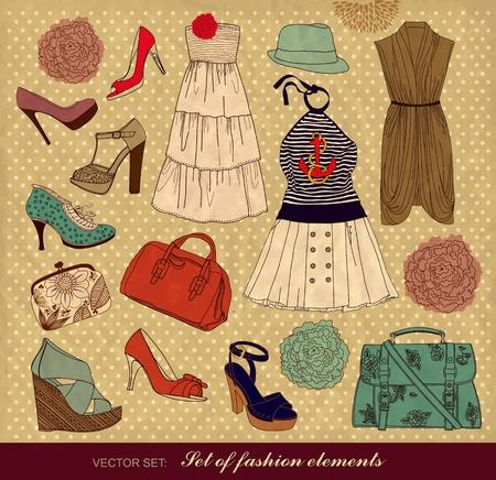 Aantal vrouwelijke mode-accessoires  Vector Illustratie