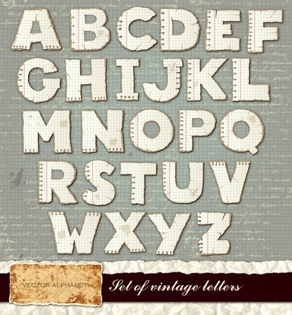 paper spell: Vector detailed alphabet from A to Z with old paper