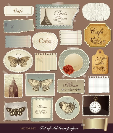paris vintage: Colección de varios elementos vintage con papeles viejos y los bordes rasgados