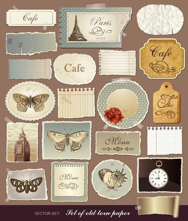 Het verzamelen van de verschillende vintage elementen met oude papieren en de gescheurde randen