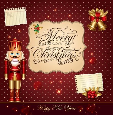 Christmas vector illustration with nutcracker