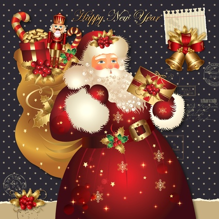 Christmas vector illustration with Santa Claus Stock Vector - 11161627