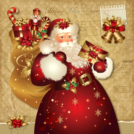 nostalgic: Christmas vector illustration with Santa Claus