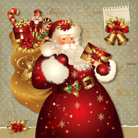 old fashioned christmas: Christmas vector illustration with Santa Claus