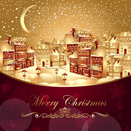 silvery: Christmas vector illustration with gold town