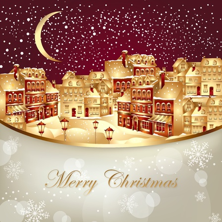 gold house: Christmas vector illustration with gold town
