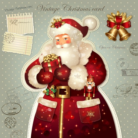 nutcracker: Christmas illustration with Santa Claus