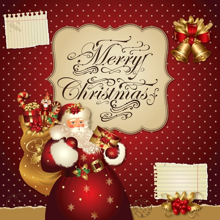 Christmas vector illustration with Santa Claus Vector