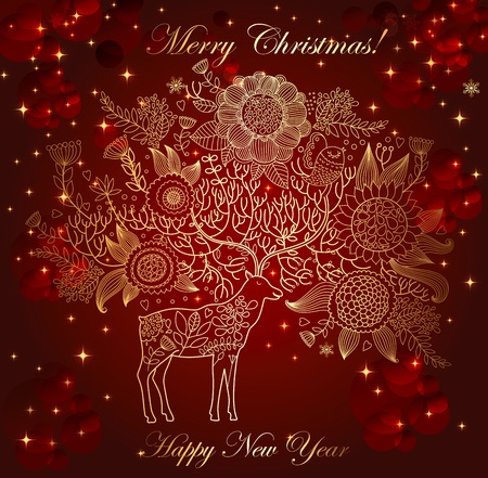 price cutting: Christmas illustration with beautiful decorative deer
