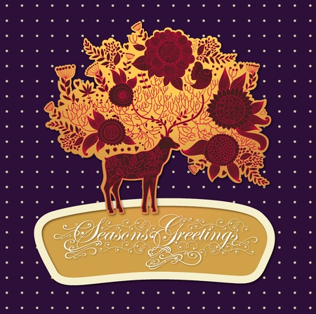 Christmas illustration with beautiful decorative deer Vector