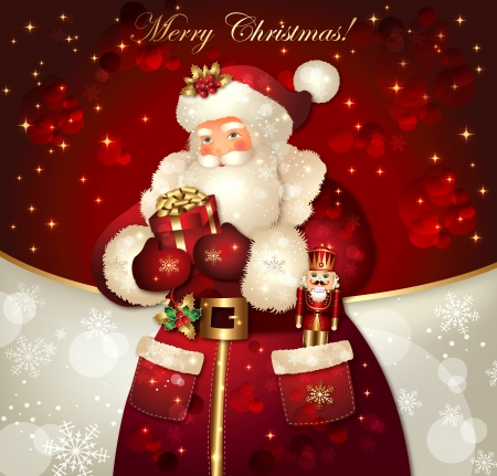 Christmas card with Santa Claus and congratulations Vector