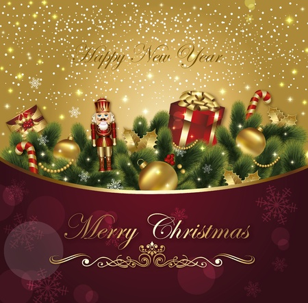 Christmas festive vector card with ornamental decorated background with fir and gifts