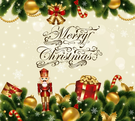 Christmas festive vector card with ornamental decorated background with fir and gifts Stock Vector - 11383661