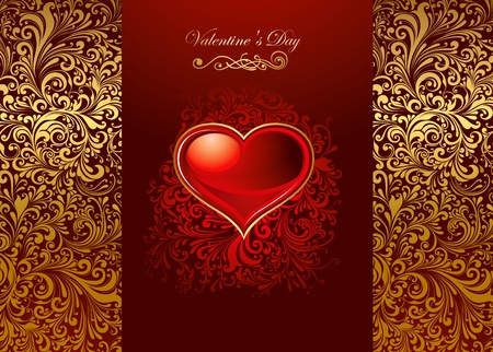 Beautiful card with glossy heart Vector