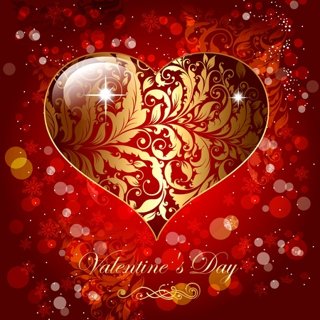 Beautiful holiday card with glossy heart Vector