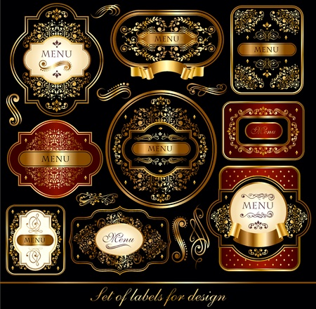 victorian scroll: Set of elegance black-gold labels with golden ornaments Illustration