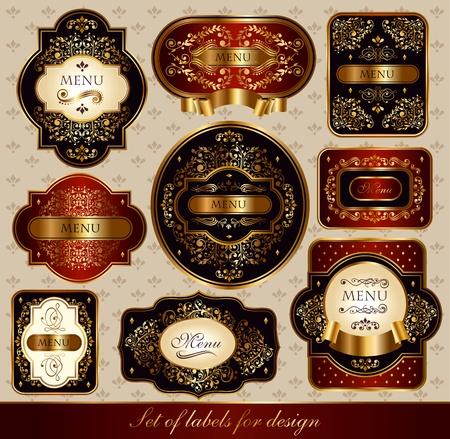 Set of elegance black-gold labels with golden ornaments Illustration