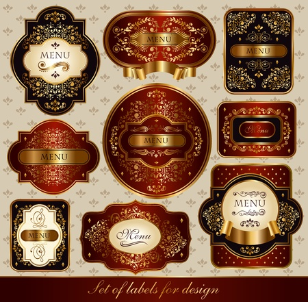 Set of elegance labels with golden ornaments