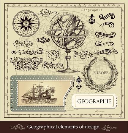географический: Векторный набор географических и каллиграфические элементы дизайна
