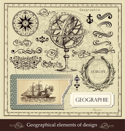 nautical vessel: Vector set of geographical and calligraphic design elements