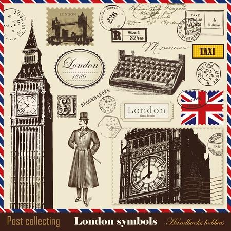 m�quina de escribir vieja: Vector conjunto de gastos de env�o y los s�mbolos de Londres Vectores