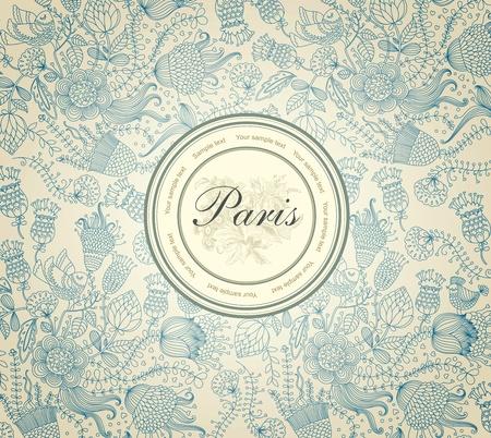 paris vintage: Vector clásico papel de pared con un patrón de flores.