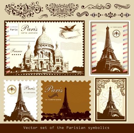 paris vintage: Conjunto de vectores: los símbolos de París y los elementos caligráficos de diseño