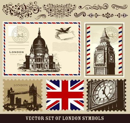 timbre voyage: Ensemble vecteur de symboles de Londres Illustration
