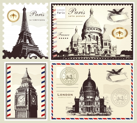 collection: postage symbols of Paris and London Vector