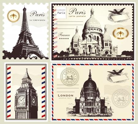 postmark: Sammlung: Porto Symbole von Paris und London