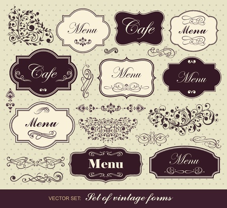 bistro: Vector set: calligraphic design elements Illustration