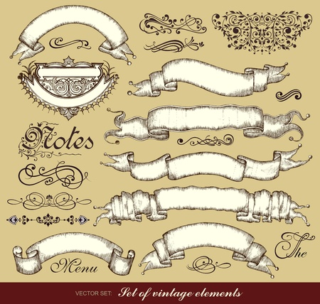 set of ribbons and calligraphic design elements