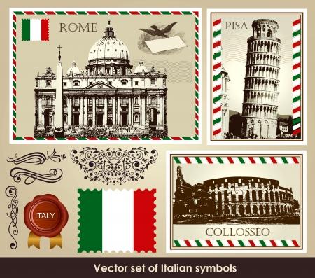 postmark: gesetzt der italienischen Symbole Illustration