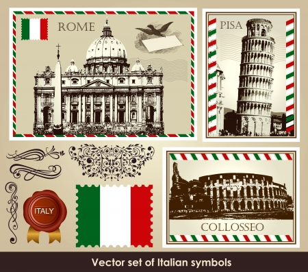 pisa tower: set of Italian symbols