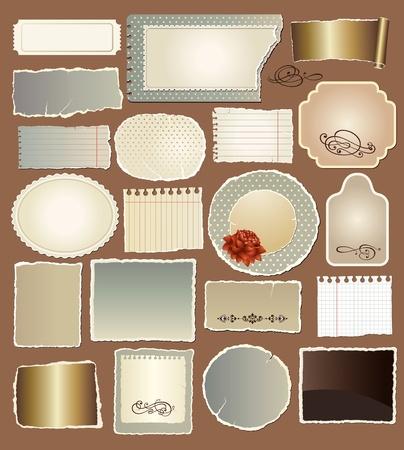 carta da lettere: Vector set di vari documenti d'epoca